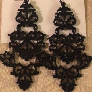 NWT Bar III Chandelier Black Earrings.